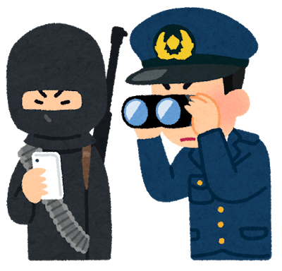 テロリストのスマホを覗く警官