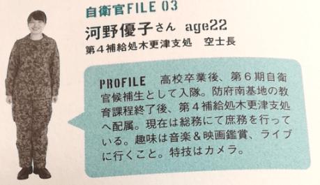 自衛隊河野優子(引用元:自衛隊防災BOOK)